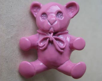 Teddy Bear Pink Brooch Bow Enamel Vintage Pin