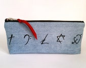 George Michael. Faith Symbols. Upcycled Denim. Cosmetic Bag. Makeup Bag. Pencilcase. Recycled Denim. Ready To Ship.