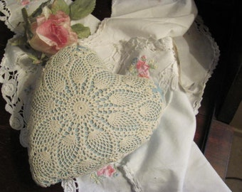 Vintage Heart Pin Cusion, Large Heart Pincusion Covered with Antique Doily