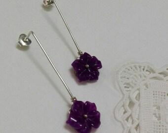 Pendientes flor botón largos con cornalina/ Long cornaline flower earrings