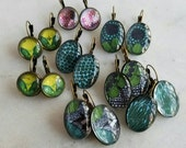 Modern Earrings, Green, Teal, Blue, Bold Graphics, Spring Jewelry