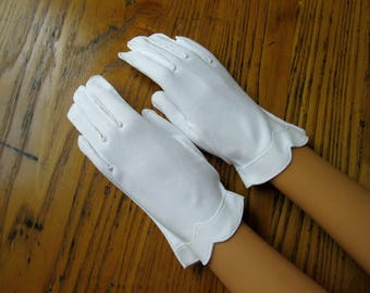 Vintage White Gloves, Bridal Gloves, Vintage Gloves, White Dress Gloves, Short Gloves, Cotton, Dress Gloves, Wedding Gloves, Vintage Fashion