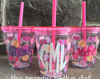 Personalized Kid's Valentine Straw Cup