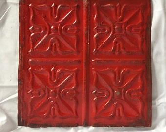 "AUTHENTIC 1890's Tin Ceiling Tile Panel Red 12""x 12"" Arts and Crafts  RECLAIMED 5-17i"