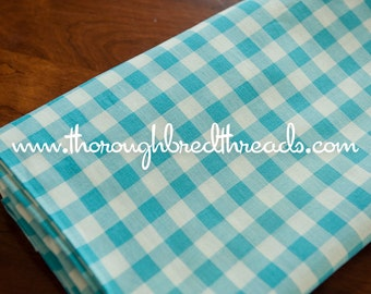 Adorable Turquoise Gingham- Vintage Fabric Classic Blue Doll Clothes