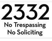 "Custom for Molly - 19"" W x 12"" H x 1"" T - 2332 No Trespassing, No Soliciting - Pewter - Recessed"