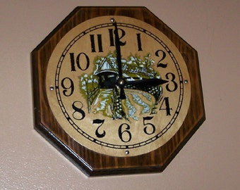 Kitchen Clock Handcrafted on a Pine Slab