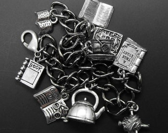 Books Tea Coffee Knitting Bracelet Book Knit Charm Jewelry
