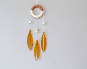 Yellow Dream Catcher. Modern Felt Dreamcatcher for Nursery or Master Bedroom. Small Wall Hanging Decor.