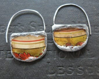 Vessel - Half Hoop Earrings Made From Upcycled Vintage Tins -  Sterling Wires