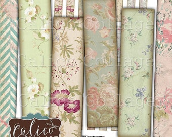 Pretty Flowers Pairs, .5x2 Inch Images, 12x50mm, Digital Collage Page, Matchstick Size, Images for Earrings, Half Domino Images