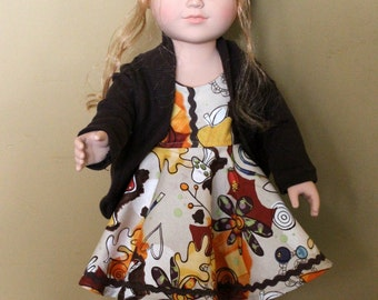 "Brown slouch sweater for 18"" doll"