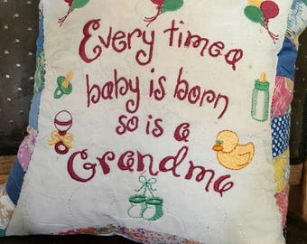 "Quilted 12"" Pillow . . . Recycled Vintage Quilt Every Time A Baby Is Born. . . . Great Gift For A New Grandma"