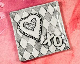 Ring Dish - Ceramic Tray - Heart Valentine Tray - Handmade