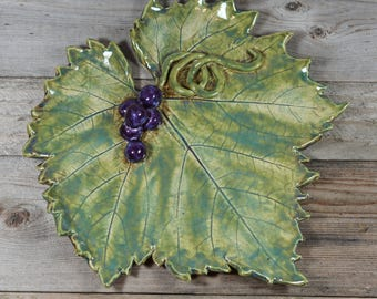 Grape Leaf - Large Decorative Tray - Snack Tray - Cheese Plate - Handmade
