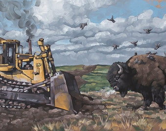 "Archival Art Print, Man vs. Nature, Giclee Print of Original Oil Painting, ""Buffalo vs. Bulldozer"", Limited Edition of 100"