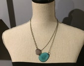 Light teal blue and gray necklace