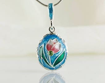 Tulip Jewelry Necklace Pink Tulip Flower on Sky Blue Enamel Sterling Silver Miniature Egg Pendant Bridesmaid Necklace Jewelry Gift for Her