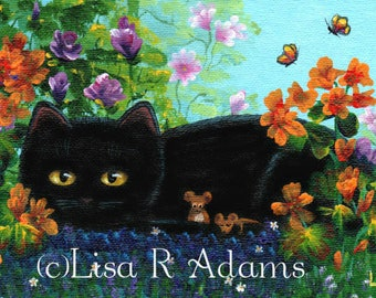 Black Cat Mouse Note Cards from Original Painting Creationarts Free Shipping