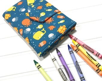 Activity book | Party Favors | Travel wallet | gift for kids | Crayon storage | Kids travel | Birthday gift | Gifts under 20 | Crayon folio