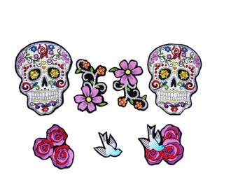 Punk Baby - Skull Patch - Day of the Dead - Sugar Skulls - Swallow - Tattoo - Girls Shirt - Rose - DIY Iron On Fabric Appliques Set of 7