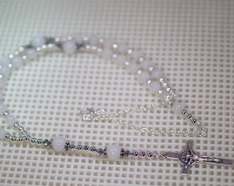 Silver & Gemstone Anglican Rosary Necklace - Custom Made - Shown in White Malaysian Jade - Several Gemstones to Choose From
