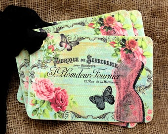French Dress Form Butterfly Gift or Scrapbook Tags or Magnet #222