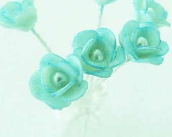 Miniature Polymer Clay Flowers Supplies Mini Blue Roses in Glass Vase