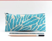 Organic Cotton Pencil Case - Turquoise Foliage Motif, Small Christmas Gift for Girls