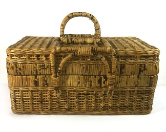 Vintage Woven Wicker Basket with Hinged Lid and Handles, Shabby Chic, Two Tone, Rustic Basket