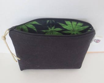 Hemp Pouch - Hemp Zip Pouch - Cannabis Pouch - Medical Zip Pouch