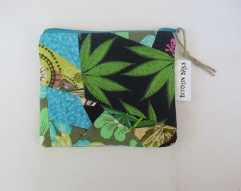 Quilted Pouch - Cannabis - Zip Case - One of a kind Pouch - Patchwork Pouch