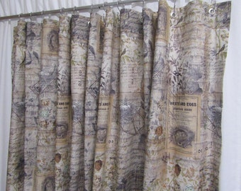 Farmhouse Shower Curtain, Rustic Shower Curtain, Bird Home Decor, Bird Nests, Bird Eggs, Cottage Chic Shower Curtain, Tea-Stained Appearance