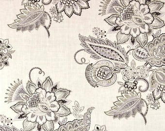 """Neutral Drapes, Modern Floral Curtains, Grey Periwinkle Window Curtains, Jacobean Floral, Custom Drapery Panels, Rod-Pocket, One Pair 50""""W"""