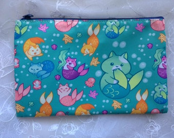 Cat Mermaid Zippered Bag Pouch