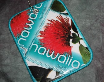 Luggage Tag from Recycled Hawaiian Artesian Water Bottle Labels
