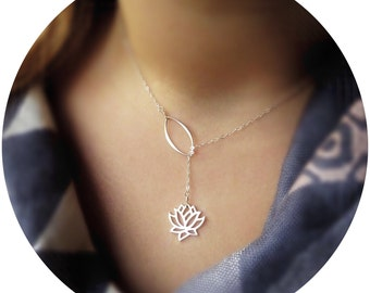 Lotus Lariat necklace, Y necklace, yoga jewelry, zen, sterling silver, lotus necklace, waterlily, spiritual jewelry, yogi gift, serenity