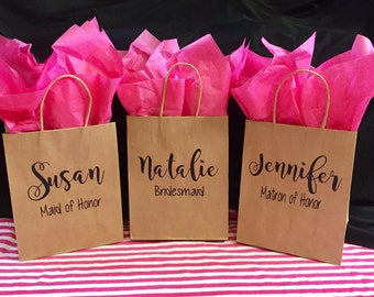 Free Shipping!,Personalized Bridesmaid Gift Bag,Custom Bridal Party Gift Bag,Bridesmaid Gift Bag,Personalized Paper Bag,Heavy Duty Kraft Bag