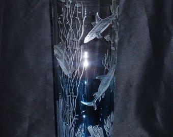 Ocean art, Glass Ocean Art, Ocean Etching, Shark Images, Hand Carved Ocean Glass, Beach Decore, Deep Sea Images, Sea Horse, Carved Vase