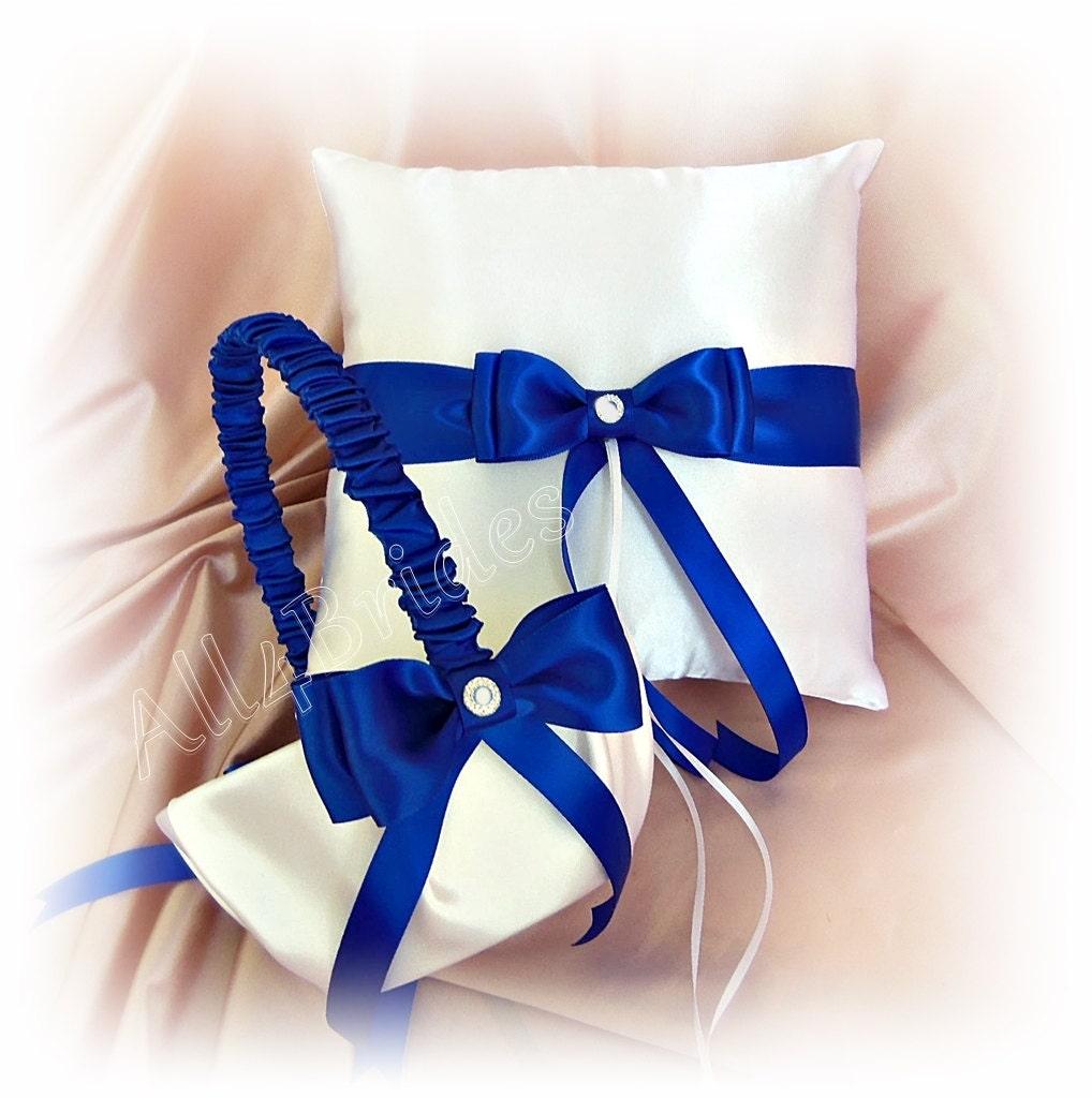 Wedding Ring Pillow And Basket Royal Blue Horizon Blue Ring