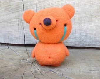 Needle Felted Happy Tears Orange Sherbet Wool Teddy Bear