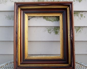 "Antique Carved Walnut Picture Frame Civil War Victorian Stacked Shadowbox Gold Gilded Wood Wooden 8"" x 10"""