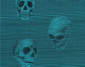 214305 black teal Alexander Henry fabric stripe skull Between The Lines