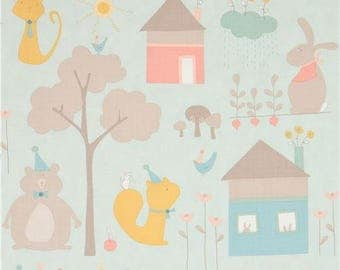 215087 light mint green with cute cat rabbit bear house fabric Moda Fabrics