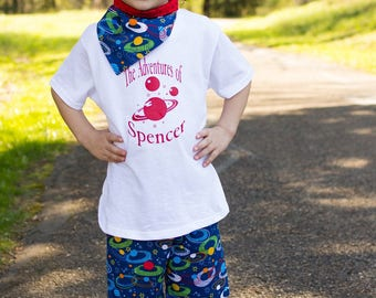 Kids Solar System Outfit - Planets Shorts Set - Little Boys - Toddlers - Baby Boys - Outer space - Personalized Birthday - 6 mos to 8 years