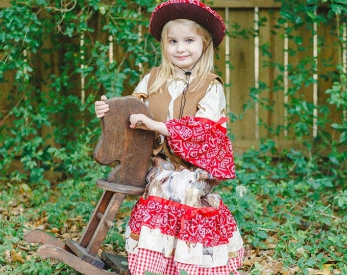 Toddler Girl Outfit - Cowgirl Outfit - Cowgirl Costume - Cowgirl Birthday Party - Cowgirl Hat - Ruffle Skirt - Long Skirt - sz 2T to 8