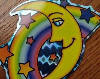 Prismatic Crescent Moon Rainbow Vintage Vending Machine Sticker