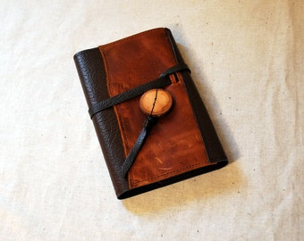2017 Dark Orange and Brown Leather Planner with Leather Tie- Refillable