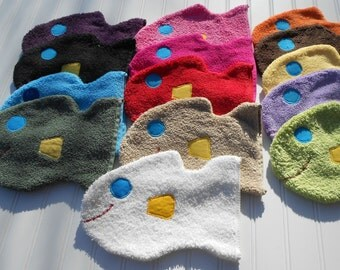 READY TO SHIP Wash Mitt in a fun fish shape and bright colors
