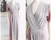 SPECIAL OFFER-1940s blush pink white draped evening gown / hollywood film noir dress/ 40s dinner dress/ WWII swing gown/ 40s cocktail dress